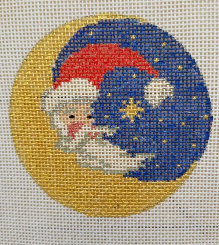 Santa Moon Hand Painted HP Round Ornament Needlepoint Canvas 18 mesh Christmas