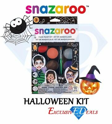 Snazaroo Halloween Kit - Children's Face Paint / Make Up Kits With Guide (Halloween Make Up Kits)