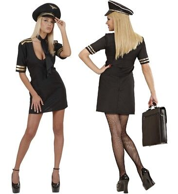 Sexy Pilotin Uniform Damen Flugkapitän Kostüm Kleid + Pilotenmütze + Tuch, Gr. L (Pilot Sexy Kostüme)