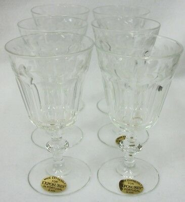 Portugal Exposures Elegant Etched Stemware - Set of 6 Glasses EUC