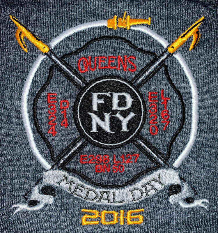 FDNY NYC Fire Department New York City Polo T-shirt Sz L NEW Queens Engine 324