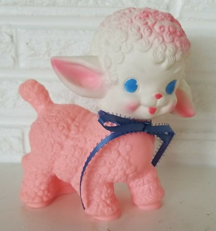 """Vintage 1955 PINK Squeaky Lamb Toy The Sun Rubber Co # 1 squeaky figure 6"""" tall"""