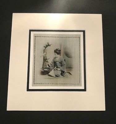 Hand Painted Silk Handkerchief Triple Mounted and framed #3