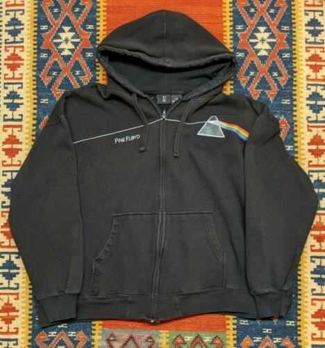 Pink Floyd Darkside Of The Moon Black Rainbow Fleece Hoodie Jacket Coat XXL