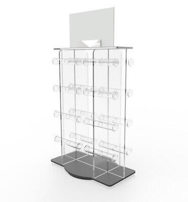 Plexiglass Acrylic 16-bar Bracelet Watch Jewelry Rotating Spinner Display Rack