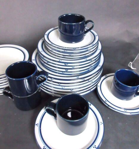 SET OF Dansk Bistro Fredriksborg Blue 5 Cups & 6 saucers