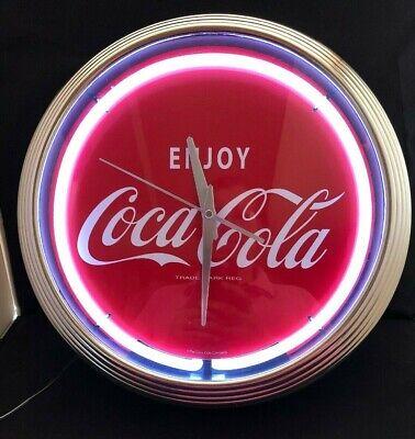 "Retro Enjoy Coca-Cola Chrome and White Neon Quartz 15"" Clock New Old Stock (MFL)"
