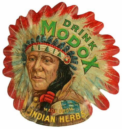 "DRINK MODOX SODA POP INDIAN CHIEF 24"" HEAVY DUTY USA MADE METAL ADVERTISING SIGN"