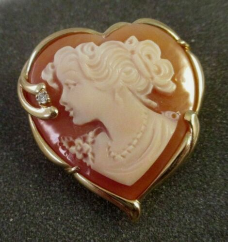 14K YELLOW GOLD HEART SHAPED CARVED SHELL CAMEO w/DIAMOND CHIP PIN or PENDANT