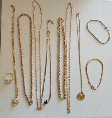 Vintage Gold Tone Jewellery Bundle. 7 necklaces, 2 bracelets, 1 ring, usado segunda mano  Embacar hacia Mexico