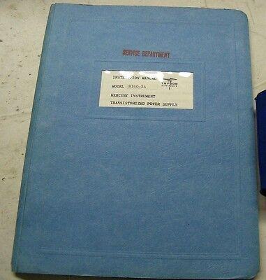 Trygon M160-3a Instruction Manual Mercury Instrument Transistorized Power Supply