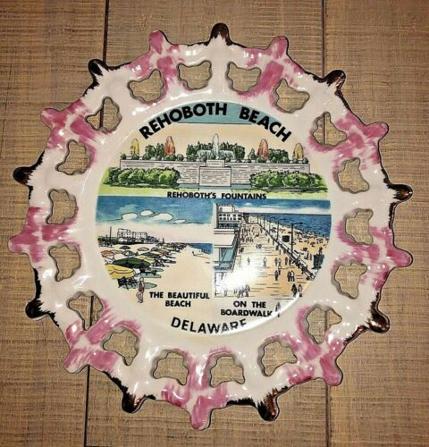 """Vintage Rehoboth Beach Delaware 8.5"""" Scenic Souvenir Pink Collector Wall Plate"""