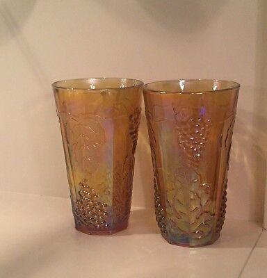 2 Indiana Carnival Glass Amber Marigold Harvest Grape Iridescent Tumbler Glasses