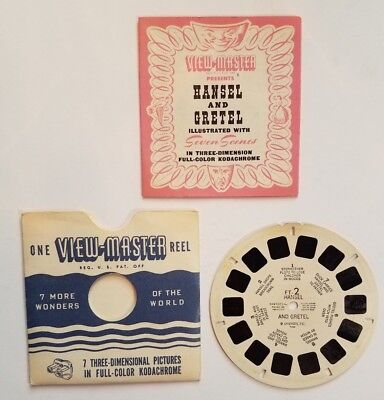 Viewmaster Reel Hansel Gretel w Booklet Sawyers 2 1946 3D Fairy Tales