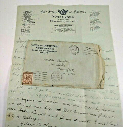 1929 world boy scout jamboree official  letter  hand written envelope B Powell