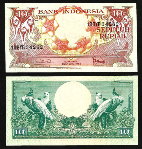 INDONESIA 10 RUPIAH 1959 UNC P-66 , PREFIX 10SCF