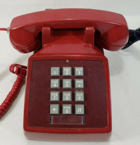 Vintage Bell System Red Push Button Desk Phone