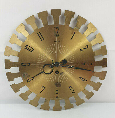 Vintage Smiths Brass Faced 2 Day Manual Wind Wall Clock Gold