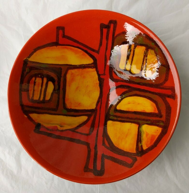 """Poole Pottery England Large Abstract Centerpiece Bowl Mid Century Modern 10.5"""""""