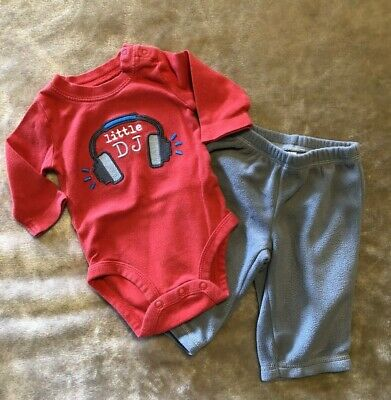 Carters Boys Outfit Size 3 Months Little DJ Music Red Gray 2 pc body suit pants