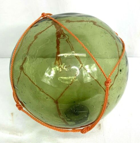 Large Japanese Green Glass Fishing Float Ball