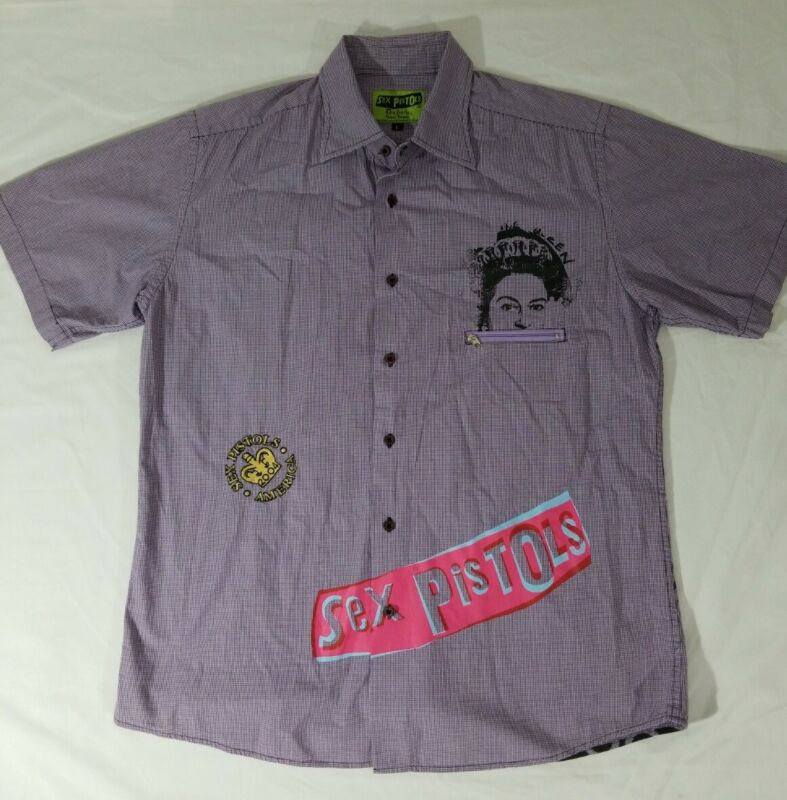 Sex Pistols Anarchy in the UK Dragonfly Short Sleeve Button Down Shirt Mens L