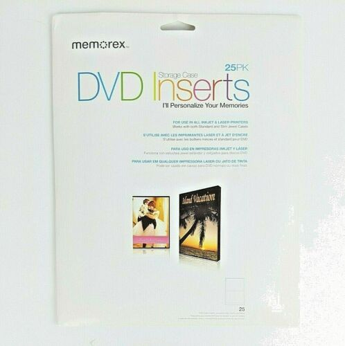 Memorex DVD Storage Case Inserts 25 Sheets Inkjet & Laser Printer