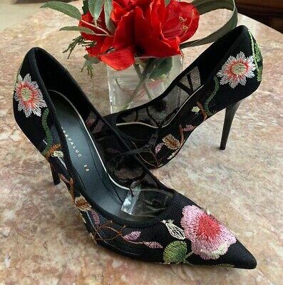 New ZARA Black Floral Embroidered High Heel Court Stilettos Shoes Sz 38/ US 7.5,