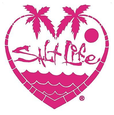 """Salt Life PALM TREE LOVE &SIGNATURE """"PINK"""" UV Rated Vinyl DECAL*FREE SHIPPING*"""