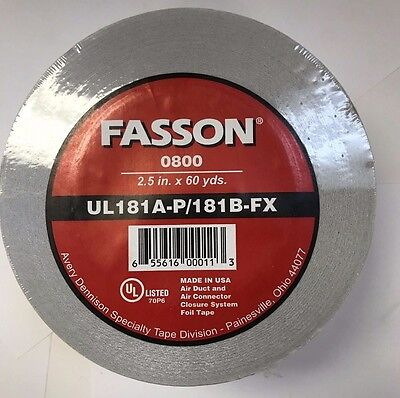 Fasson 56477 02160180 - 0800 2.5 X 60 Yards Silver Foil Tape For Hvac Duct