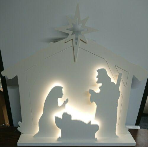 Brand New Winter Lane Indoor/Outdoor Warm White Light Nativity Manger Scene