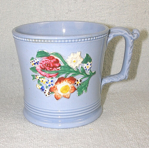 Blue 1890s Pottery Mug with Hand Painted Raised Flowers