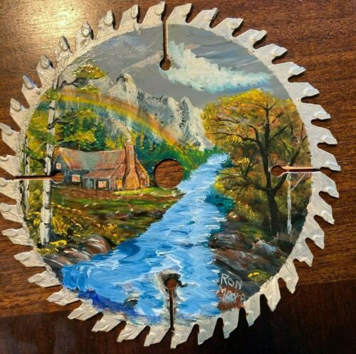 Signed Hand Painted Saw Blade