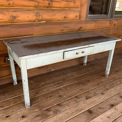 Vintage Metal Industrial Tabledesk Office Desk With Drawer