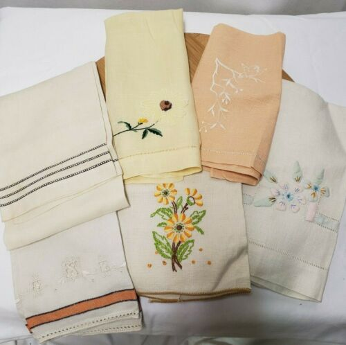 Antique Lot of 6 Linen Hand Stitched Hand Towels From the 1930