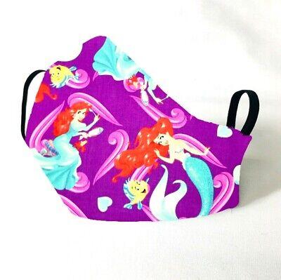 The Little Mermaid Adult (DISNEY - THE LITTLE MERMAID Face Mask - Custom - Fabric - Handmade - Adult Size)