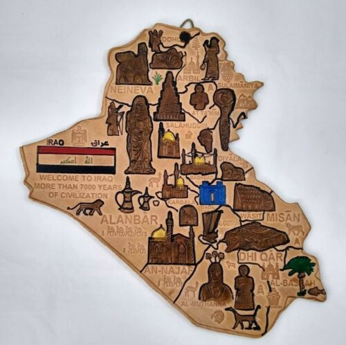 Hand tooled leather map of IRAQ - hand painted wall art Middle East collectible