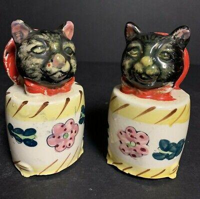 Antique Vintage Ceramic Black Cat Meowing Sound Salt & Pepper Shakers