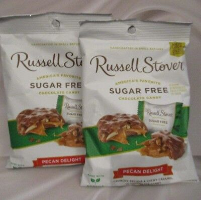 RUSSELL STOVER-Sugar Free Pecan Delight Chocolate Candy {MADE w/h STEVIA} 2 BAGS ()