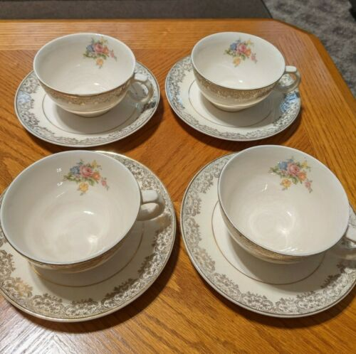 Four Vintage Paden City Pottery Pcp9 Cup & Saucer Sets