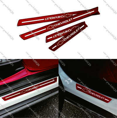 4Pcs Chevrolet Red Carbon Fiber Car Door Welcome Plate Sill Scuff Cover Sticker