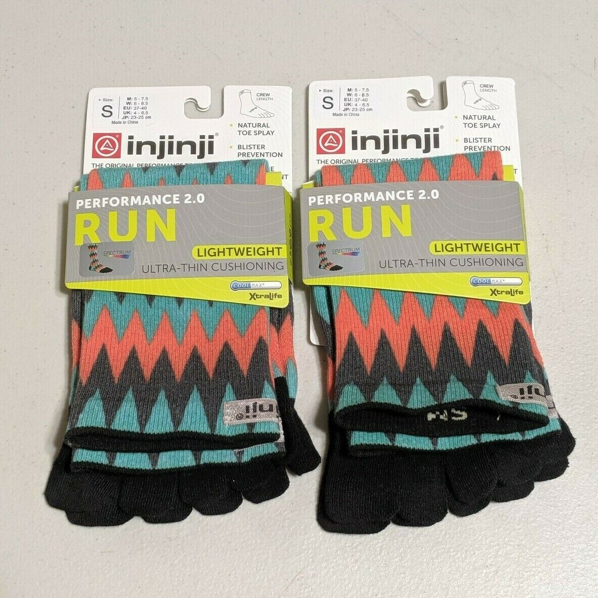 Lot of 2 Pair Injinji Run Lightweight Crew Toe Socks Colorfu