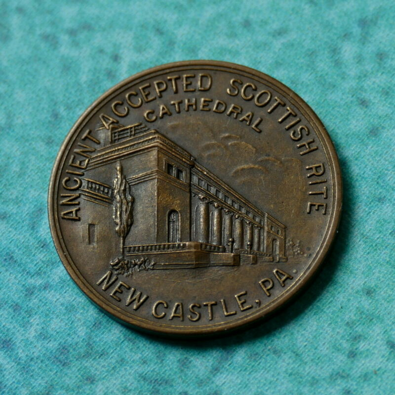 1926 New Castle PA Cathedral Coin Medal FREEMASON Ancient Accepted Scottish Rite