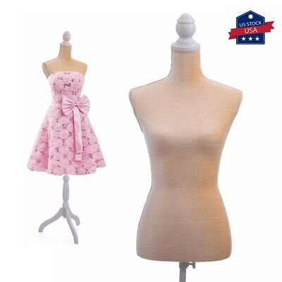 Female Mannequin Torso Clothing Dress Form Shop Display Wwhite Tripod Stand