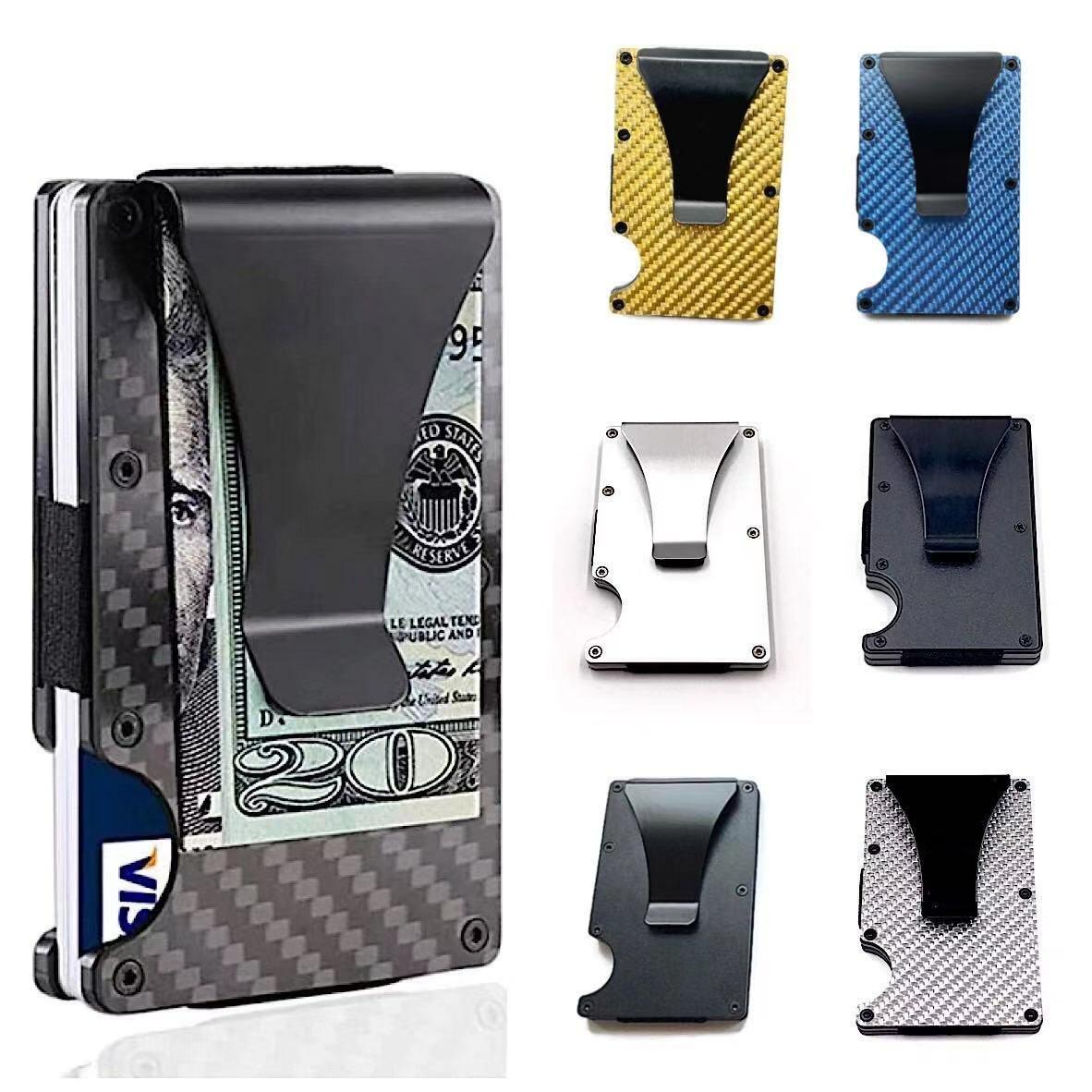 Mens RFID Blocking Slim Money Clip Carbon Fiber Wallet ID Credit Card Holder