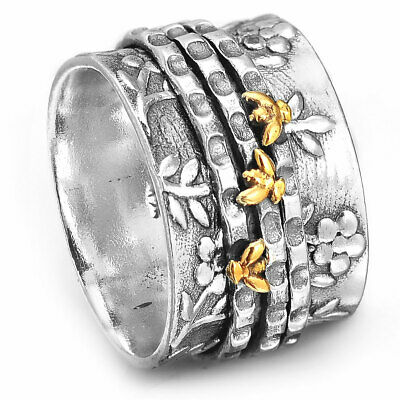 Flower Bee Ring Spinner Sterling Silver 925 Women Handmade Wide Band Size 7 8 9