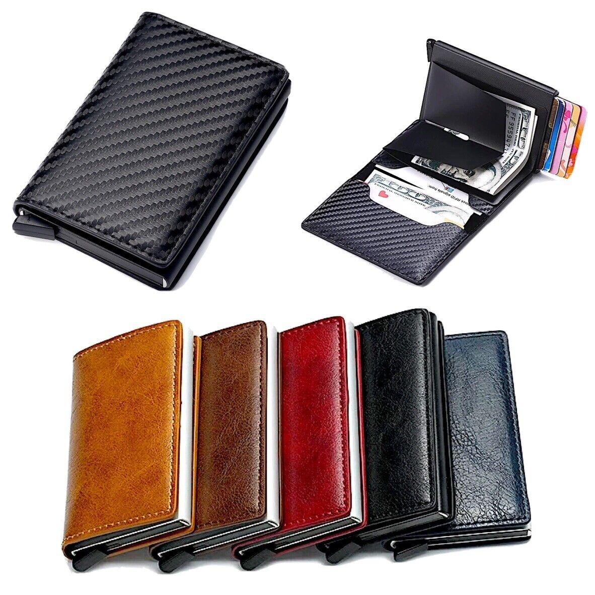 Mens RFID Blocking Leather Credit Card ID Holder Wallet Slim Money Clip Purse