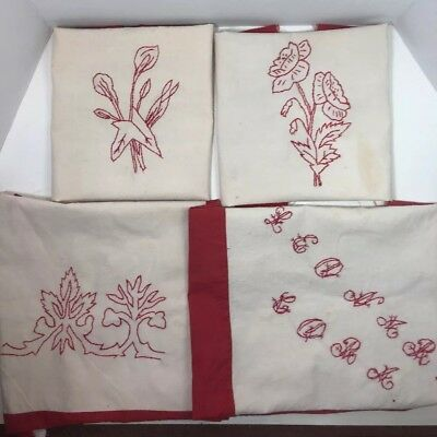 (Vintage Hand Embroidered RED WORK Embroidery Quilt Blocks Pillow Top Lot Of 4)