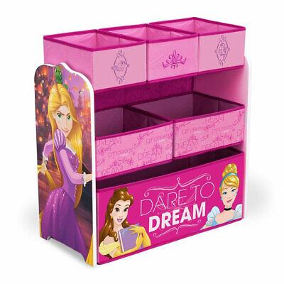 Delta Children Disney Princess Kids 6 Bin Wooden Toy Box Storage Organizer, Pink Kids Princess Toy Box
