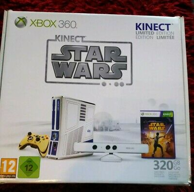 STAR WARS LIMITED EDITION XBOX 360 CONSOLE. BOXED WITH GOLD CONTROLLER & KINECT